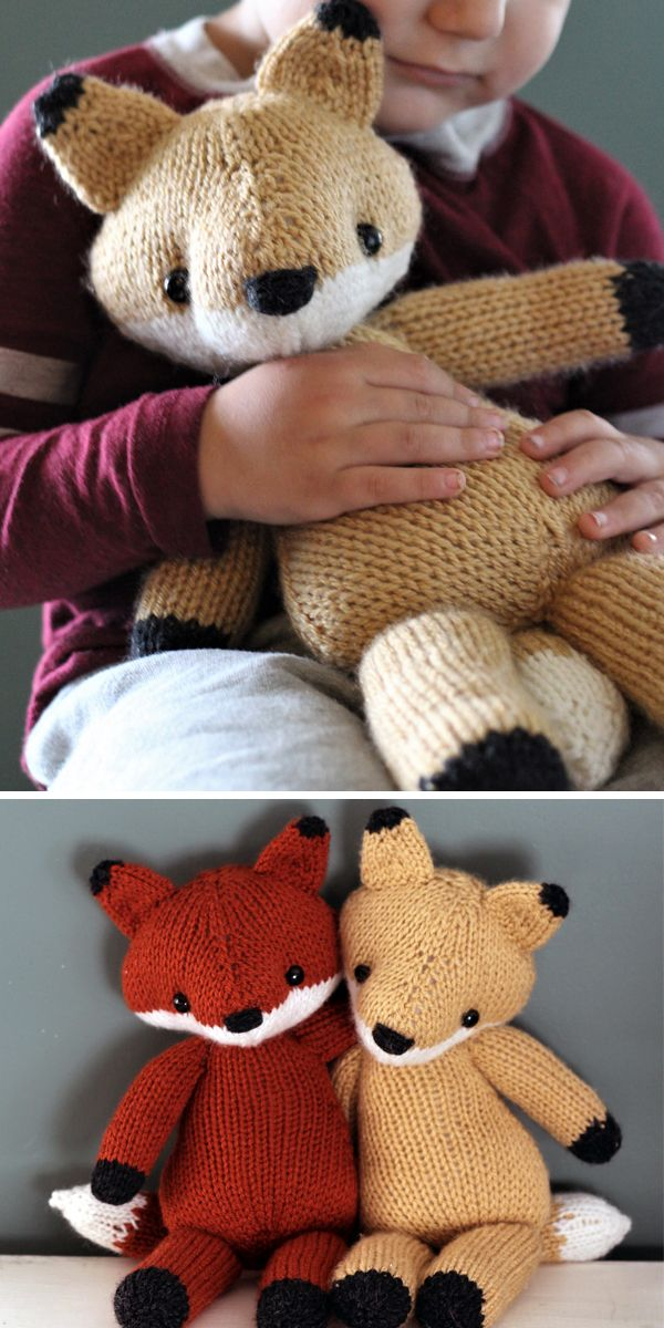 Knitting Pattern for Emerson the Fox Toy Softie