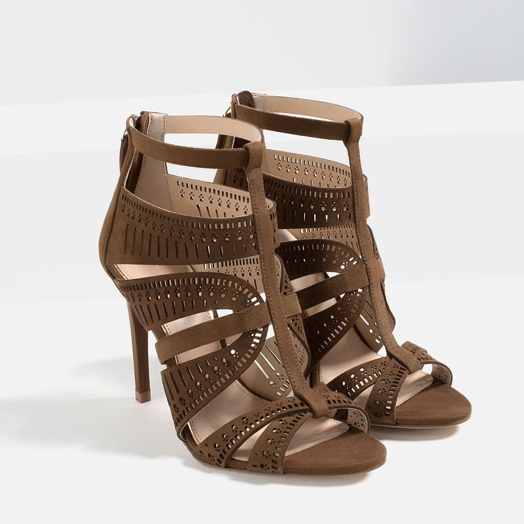 8c22d87dc7cccf Image 1 of LEATHER STRAPPY HIGH HEEL SANDALS from Zara