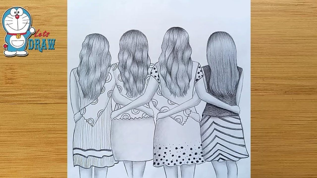 Best Friends Pencil Sketch Tutorial How To Draw Four Friends Hugging Each Other Youtube Friends Sketch Drawings Of Friends Pencil Sketch Tutorial