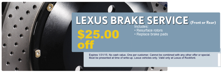 Lexus Brake Service Coupon! 25 off through the month of