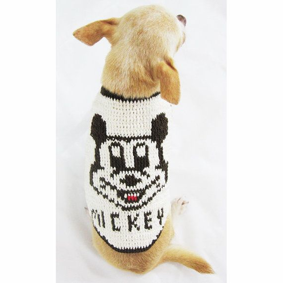 Mickey Mouse Teacup Chihuahua Clothes Handmade Crochet Stitches Pet ...