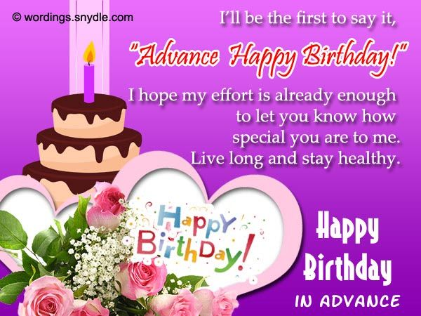 Birthday Wishes In Advance Jpg 600 450 Pixels With Images