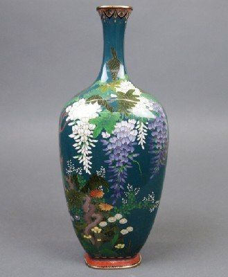Japanese Cloisonne Vase 9 34 Tall Fine Silver Wire In A Squared
