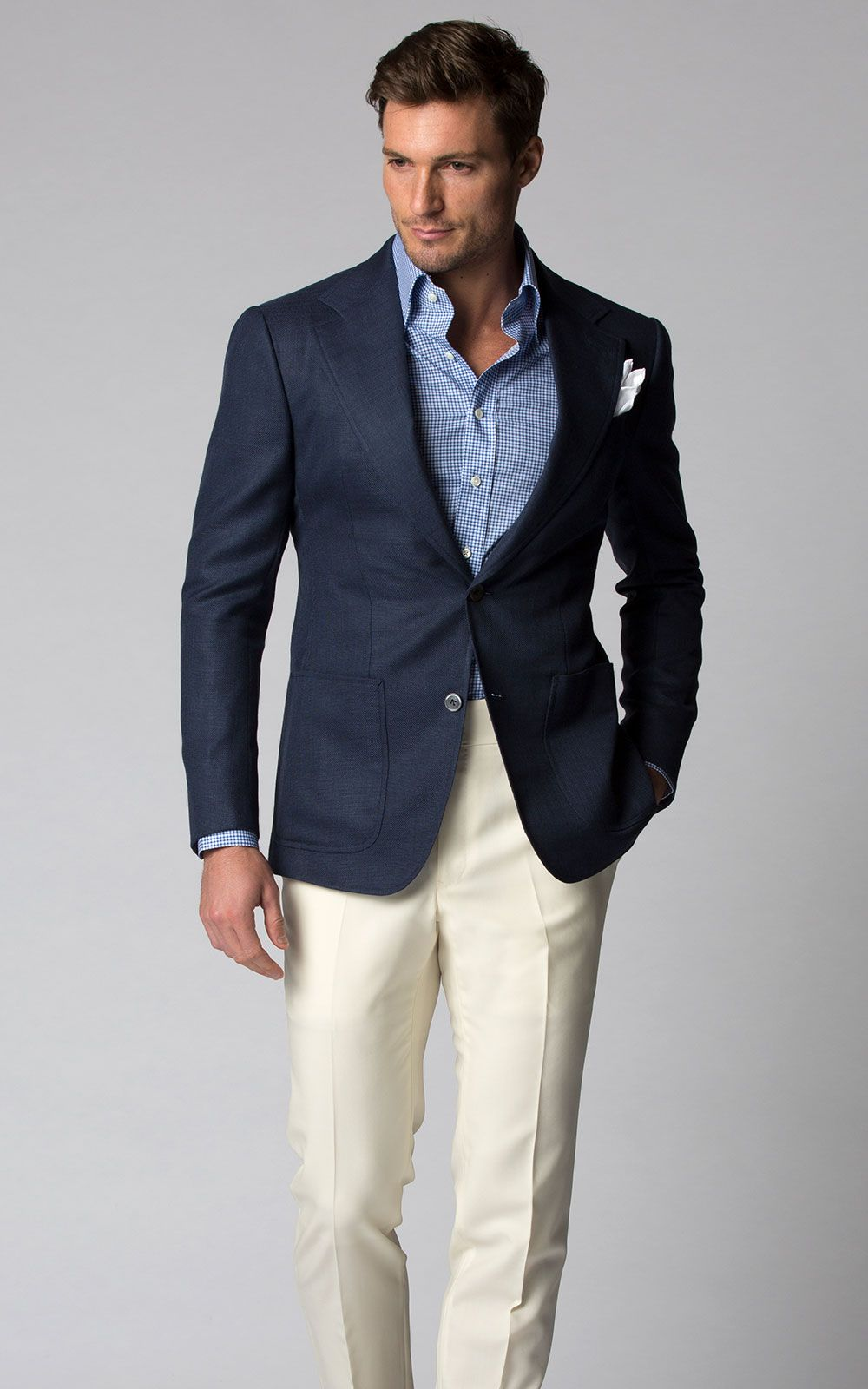 Custom Bespoke Blue Notch Lapel Summer Blazer with Cream