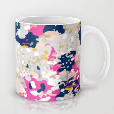 Michel - Abstract, girly, trendy art with pink, navy, blush, mustard for cell phones, dorm decor etc