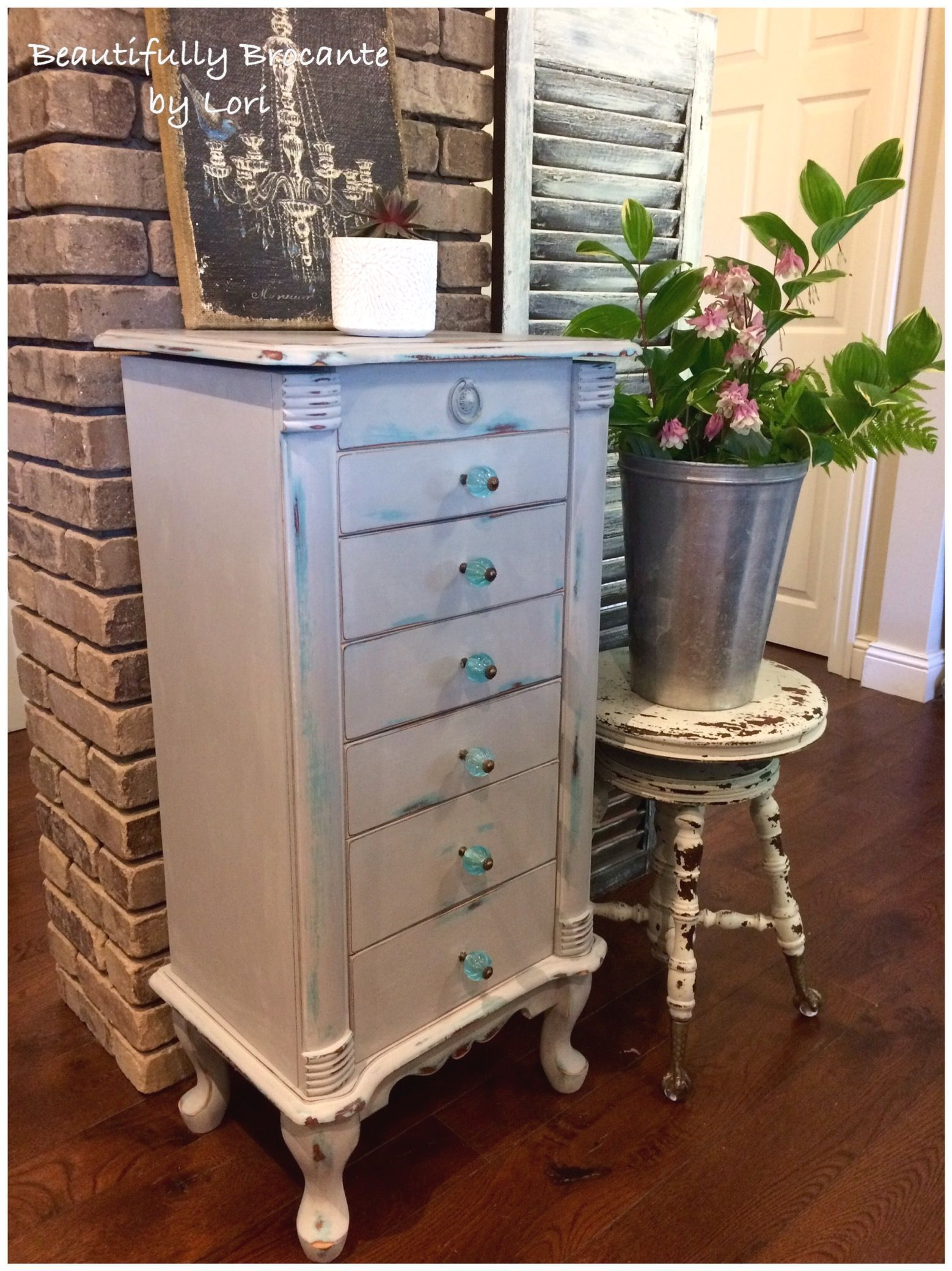 Vintage Jewelry Armoire Refinished In A Base Coat Of Annie Sloan