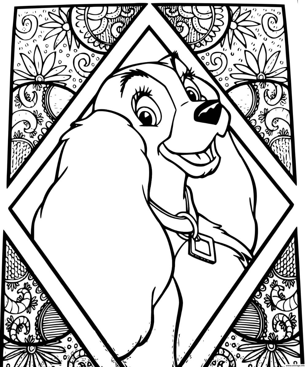 Coloriage chien disney lady la belle et le clochard à imprimer