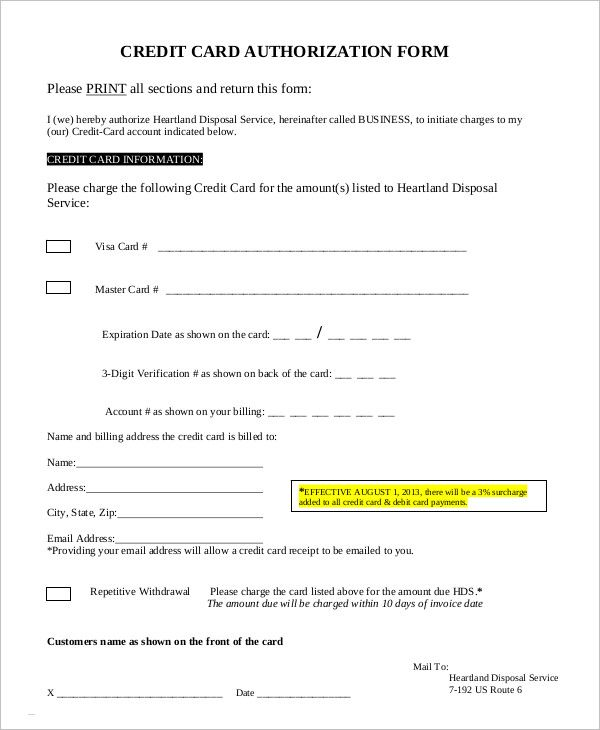 Credit Card Authorization Form Template template Pinterest