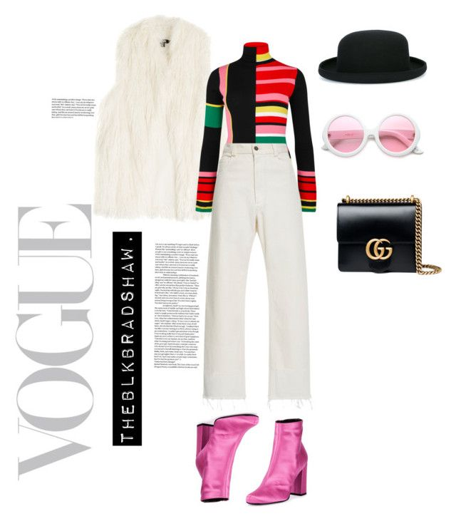 """""""Bowler hat girl"""" by theblkbradshaw on Polyvore featuring DKNY, Yves Saint Laurent, Kenzo, Rachel Comey, Gucci, ZeroUV and Comme des Garçons"""