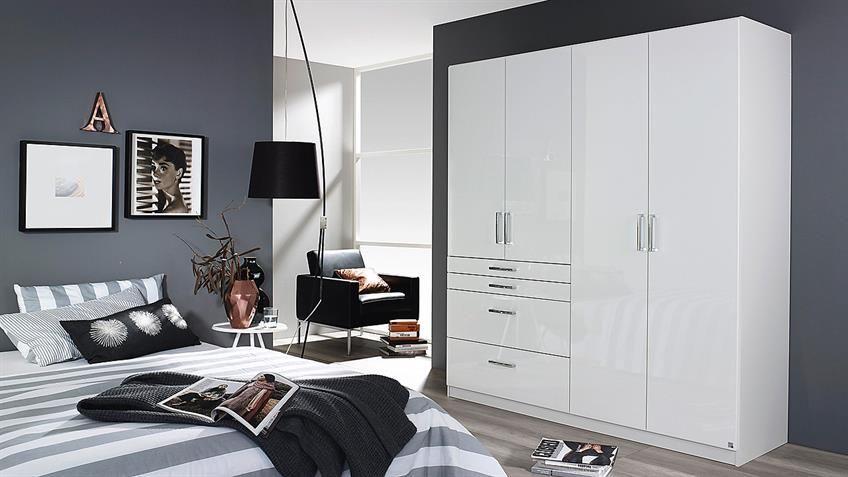 Kleiderschrank HOMBURG Schrank in weiß Hochglanz 181 | Interior ...