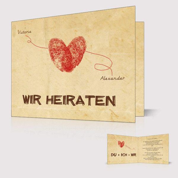Hochzeitskarte Packpapier Fingerabdruck Herz Linie Namen Vintage P