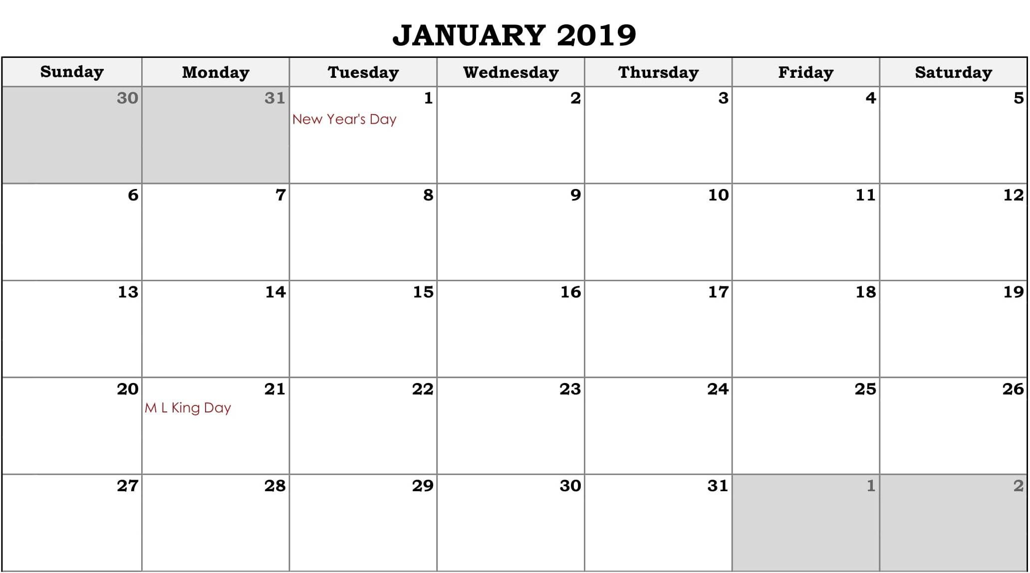 Calendar January 2019 In Pdf Word Excel Printable Template With