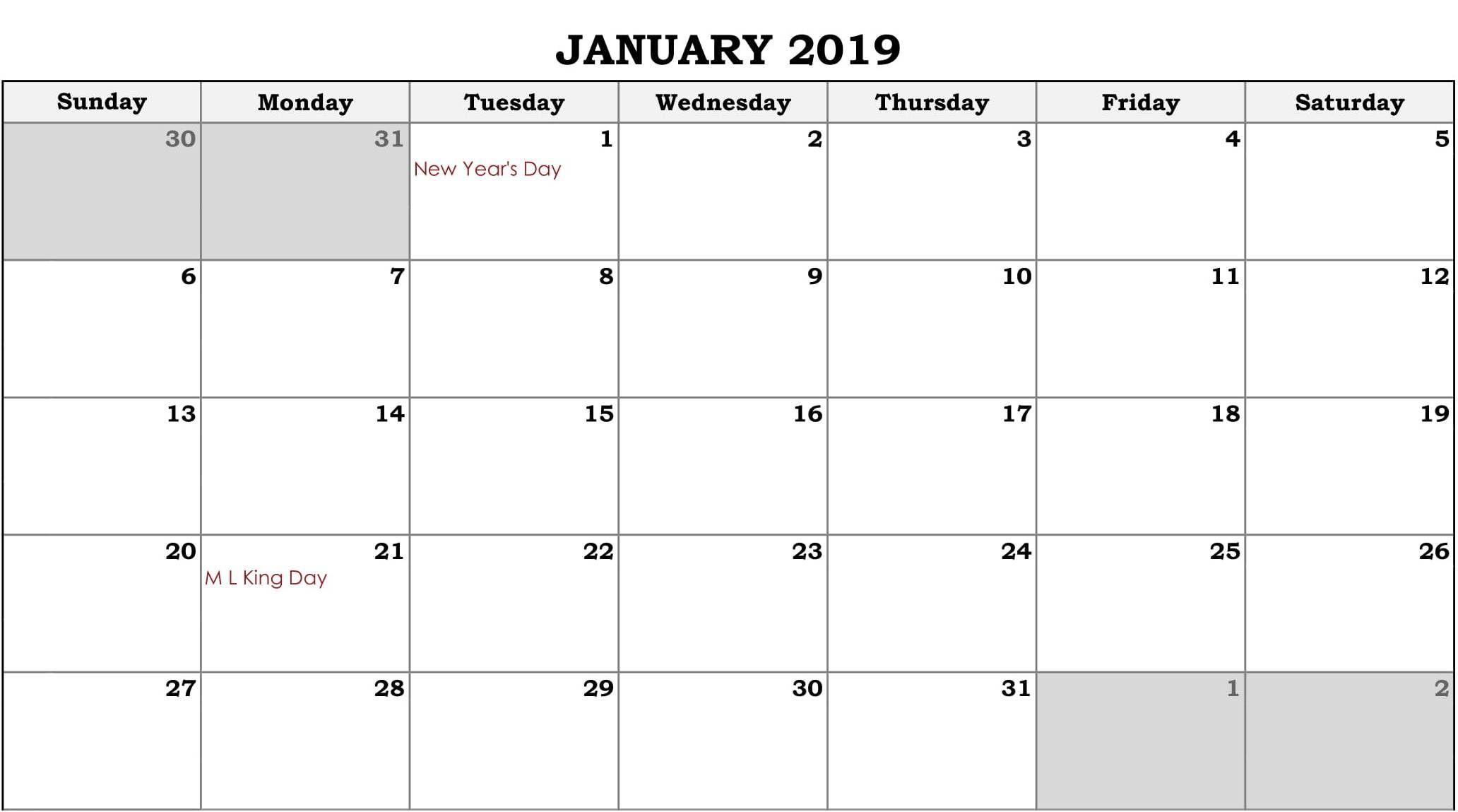 Online Editable Calendar 2019 Online Fillable Calendar January 2019 | 250+ January 2019 Calendar