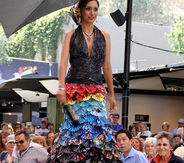 Gorgeous Dress Made From Old Magazines Garbage Bags Recycled