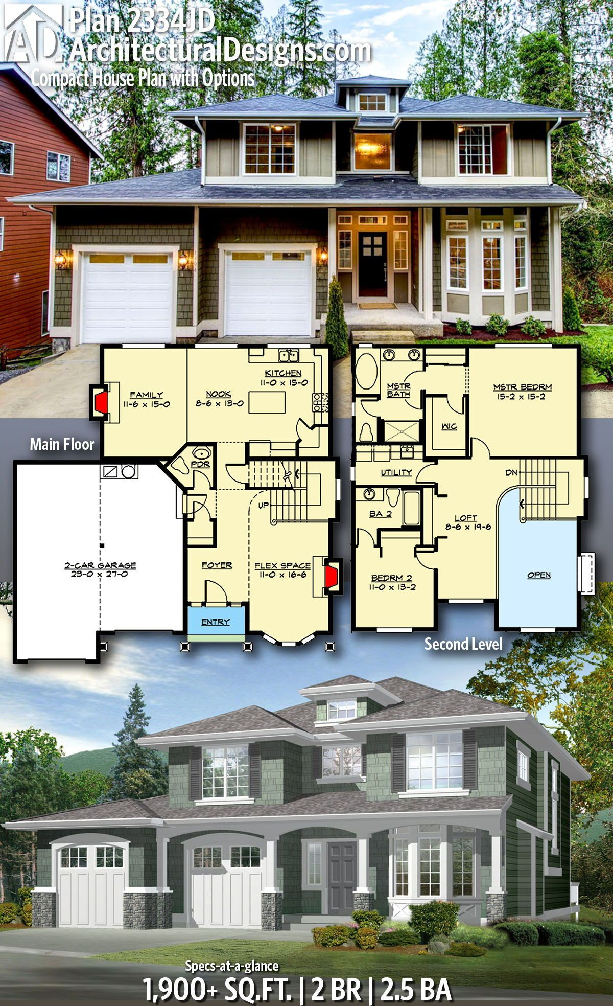 Plan 2334jd Compact House Plan With Options House Plans