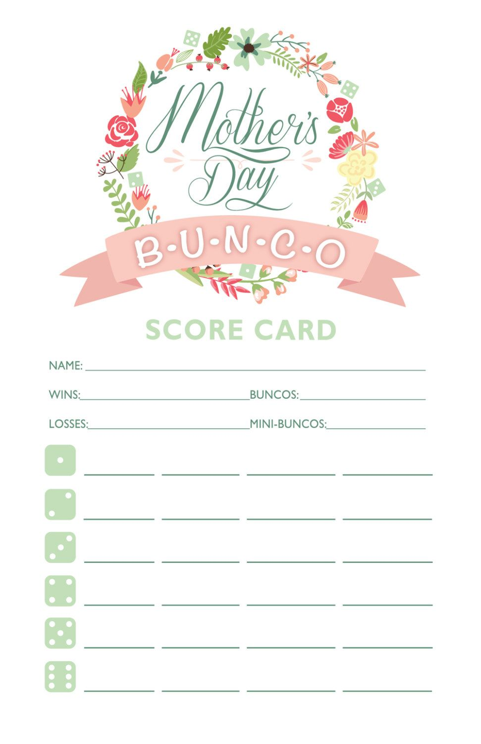 free bunco scorecard template.html