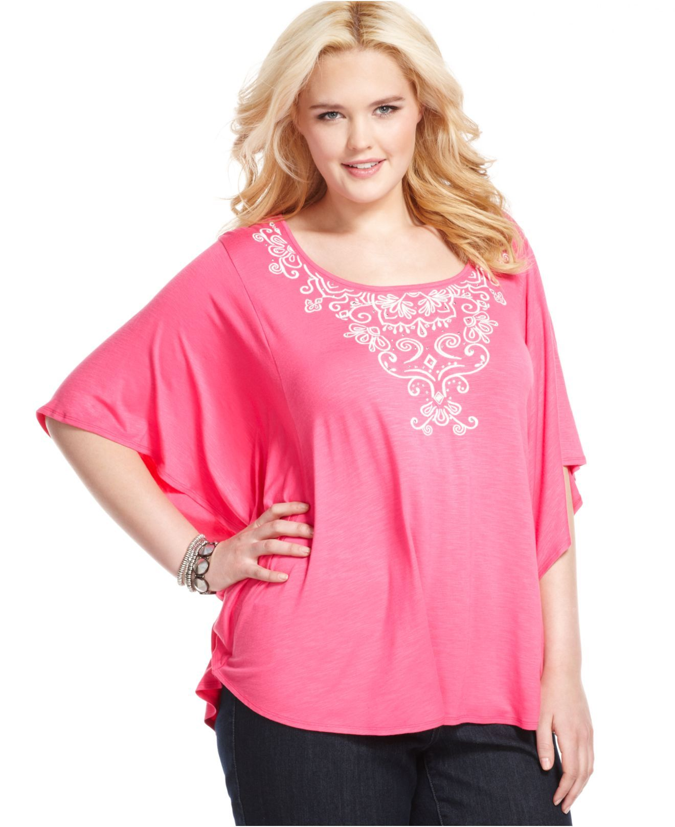 style plus size top, butterfly sleeve embroidered - plus size tops