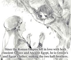 Then wouldn't Greece and Egypt be related to Italy and Romano as well? -Hetalia