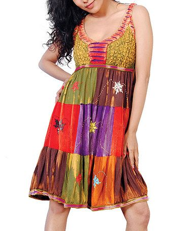 Take a look at this Green & Red Embroidered Patchwork Dress - Women by Rising International on #zulily today!