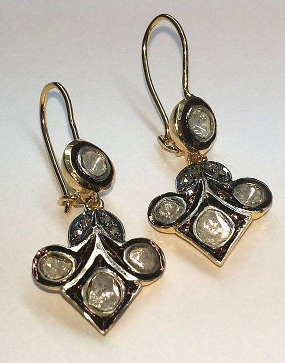 Victorian Estate Style 1.20ct. Rose Cut  Antique Cut / Polki Diamond .925 Silver Earring