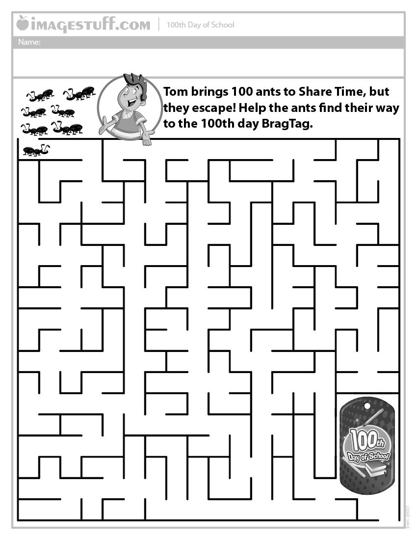 100th Day of School Ant Maze Worksheet httpimagestuff – 100th Day Math Worksheets