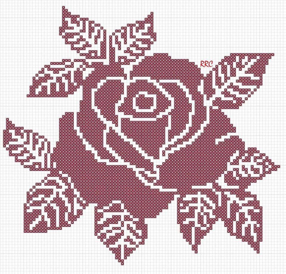 схемы картинок с цветами для вязания спицами федорова