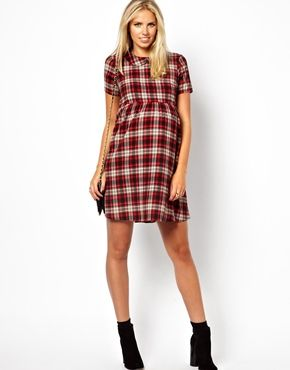 b208fd27cc7 Image 4 of ASOS Maternity Smock Dress with Plaid Check with Collar