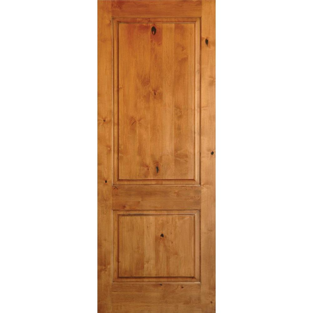 Krosswood Doors 32 In X 80 In Rustic Knotty Alder 2 Panel Square Top Unfinished Wood Front Door S In 2020 Prehung Interior Doors Wood Doors Interior Wood Front Doors