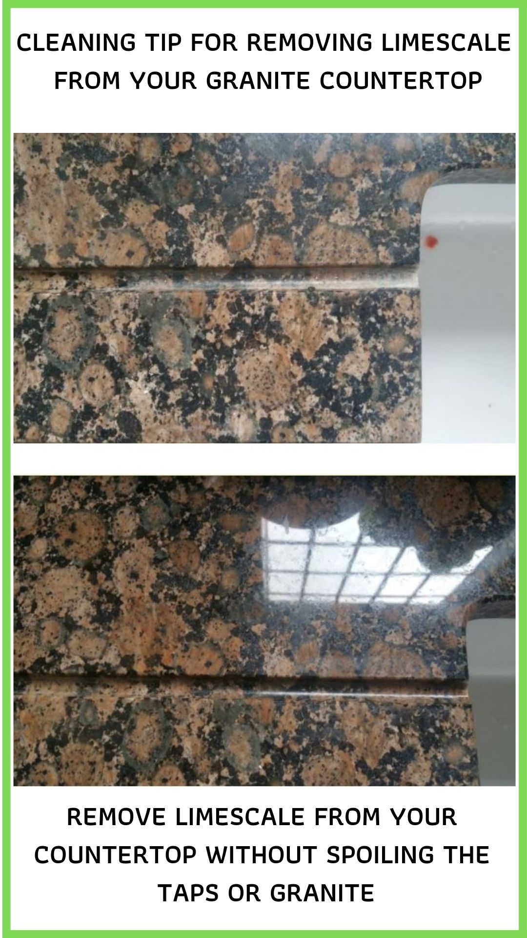 This Is A Simple Method I Use To Safely Remove Limescale From A Granite Worktop Without Using Corrosive Chemicals How To Clean Granite Granite Worktops Granite