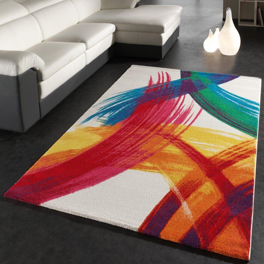 teppich modern bunt teppich splash brush leinwand optik creme grn blau rot gelb wohn und schlafbereich - Teppich Design Modern