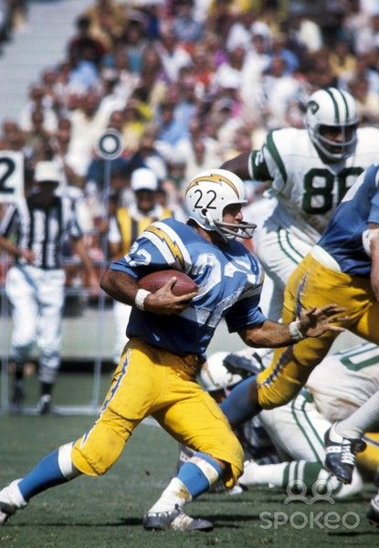 Dickie Post carrying the ball against the Jets in 1969  This
