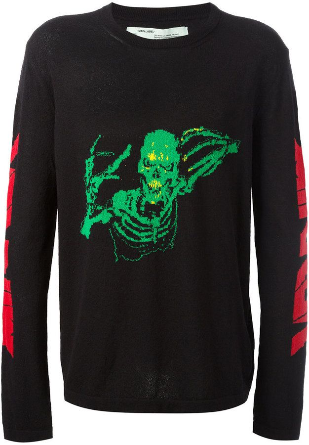 4355cc0e Off-White Skull Mirror Knitted Sweater | Products | Sweater design ...