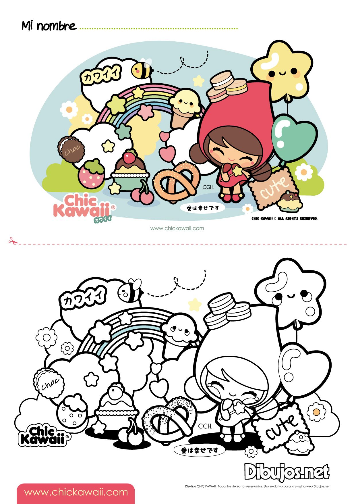 chic kawaii coloring sheets kawaii drawings doodle