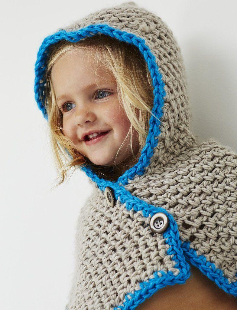 Free Crochet Pattern Hooded Childs Cowl | Ponchos Tejidos ...