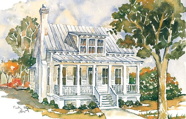 Front Exterior Bellamy Place 1878 Sq Ft Southern Living House Plan Http Houseplans Southernlivin Narrow Lot House Plans Beach House Plans Cottage Floor Plans