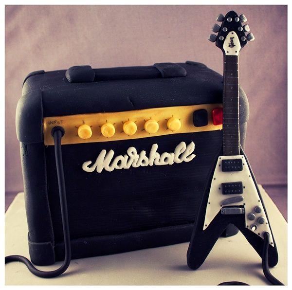 MARSHALL AMP FLYING V GUITAR BIRTHDAY CAKE6x6x4 4 layer vanilla