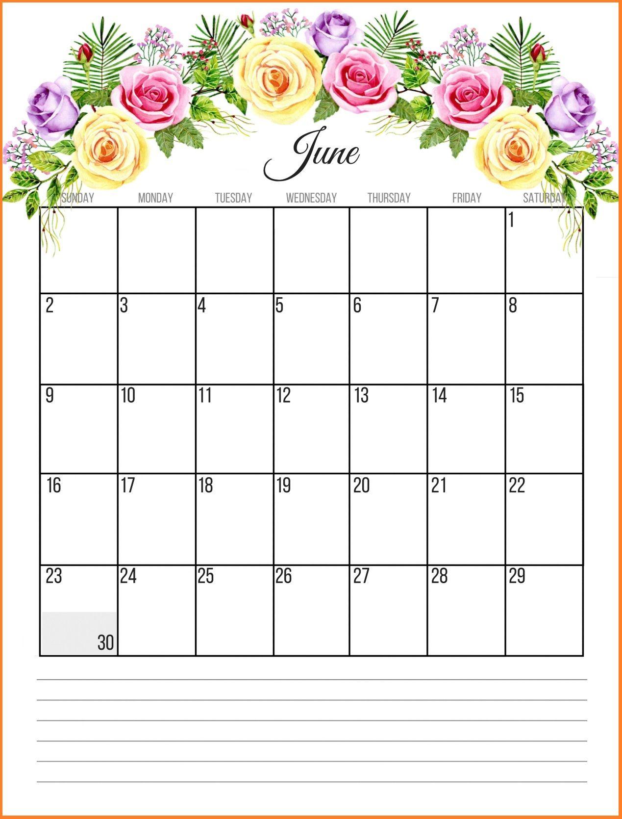 June 2019 Floral Calendar | Paper crafts | June 2019 calendar