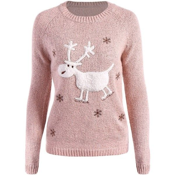 Christmas Snowflake Embroidered Reindeer Sweater ❤ liked on Polyvore  featuring tops 783c79d4a