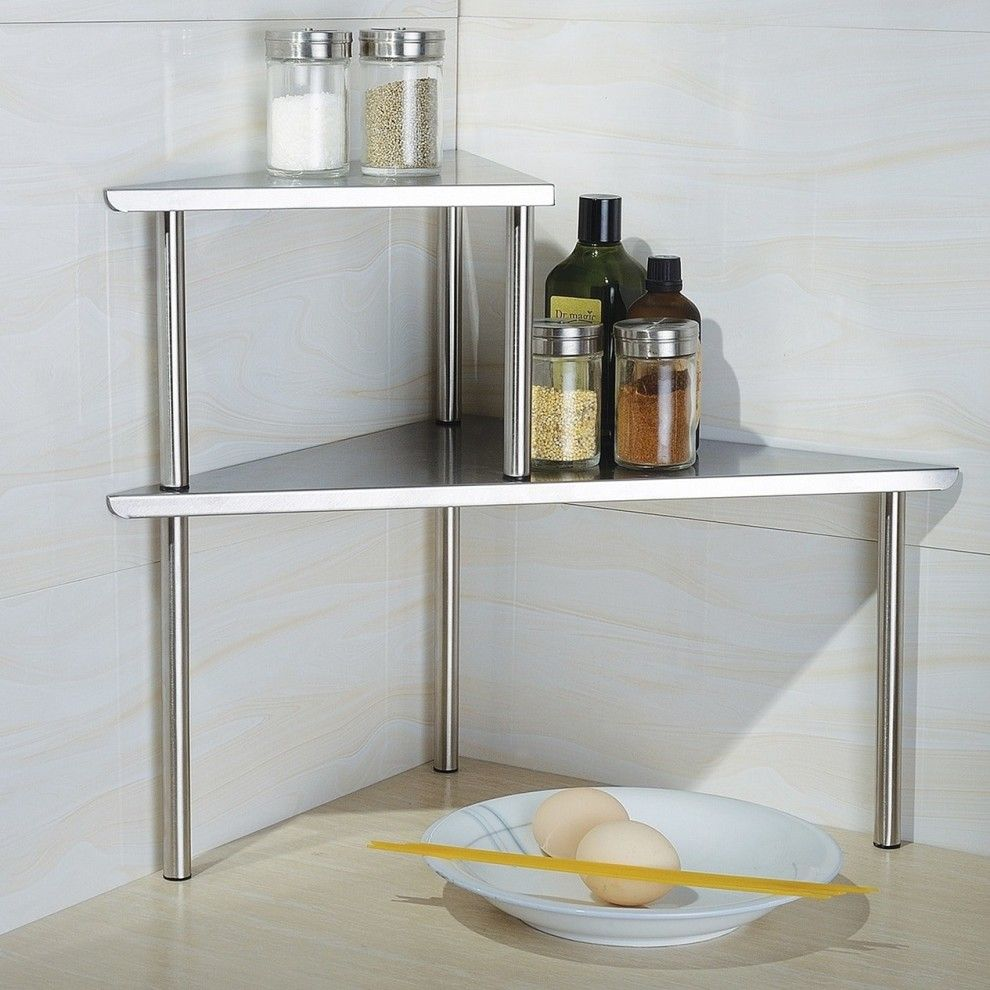 24 Space Saving Products For Anyone With A Tiny Kitchen Corner Storage Shelves Corner Storage Space Saving Kitchen