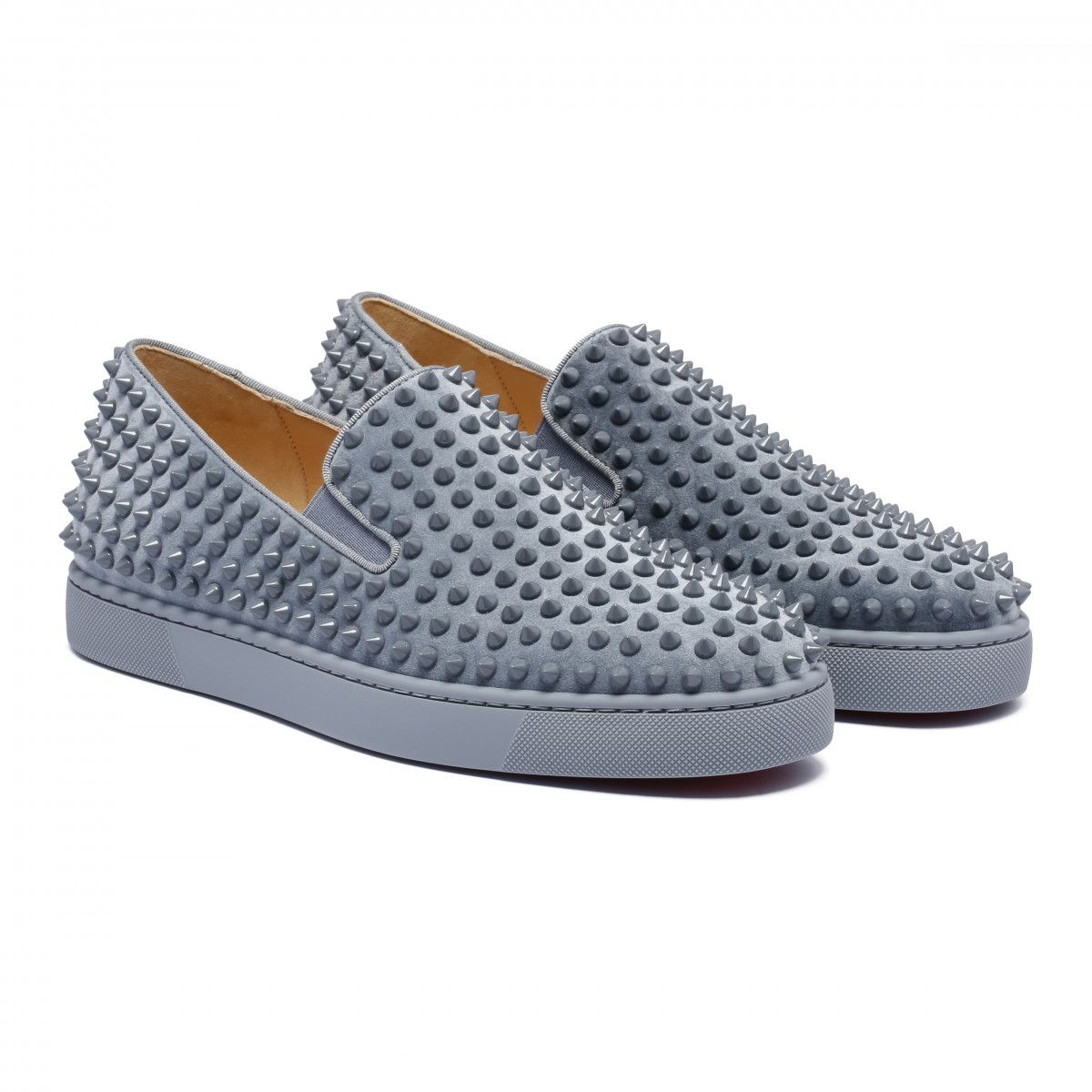 """cfa89269c2a Christian Louboutin """"Roller-Boat Veau Velours Sneakers"""" in square-blue  leather"""