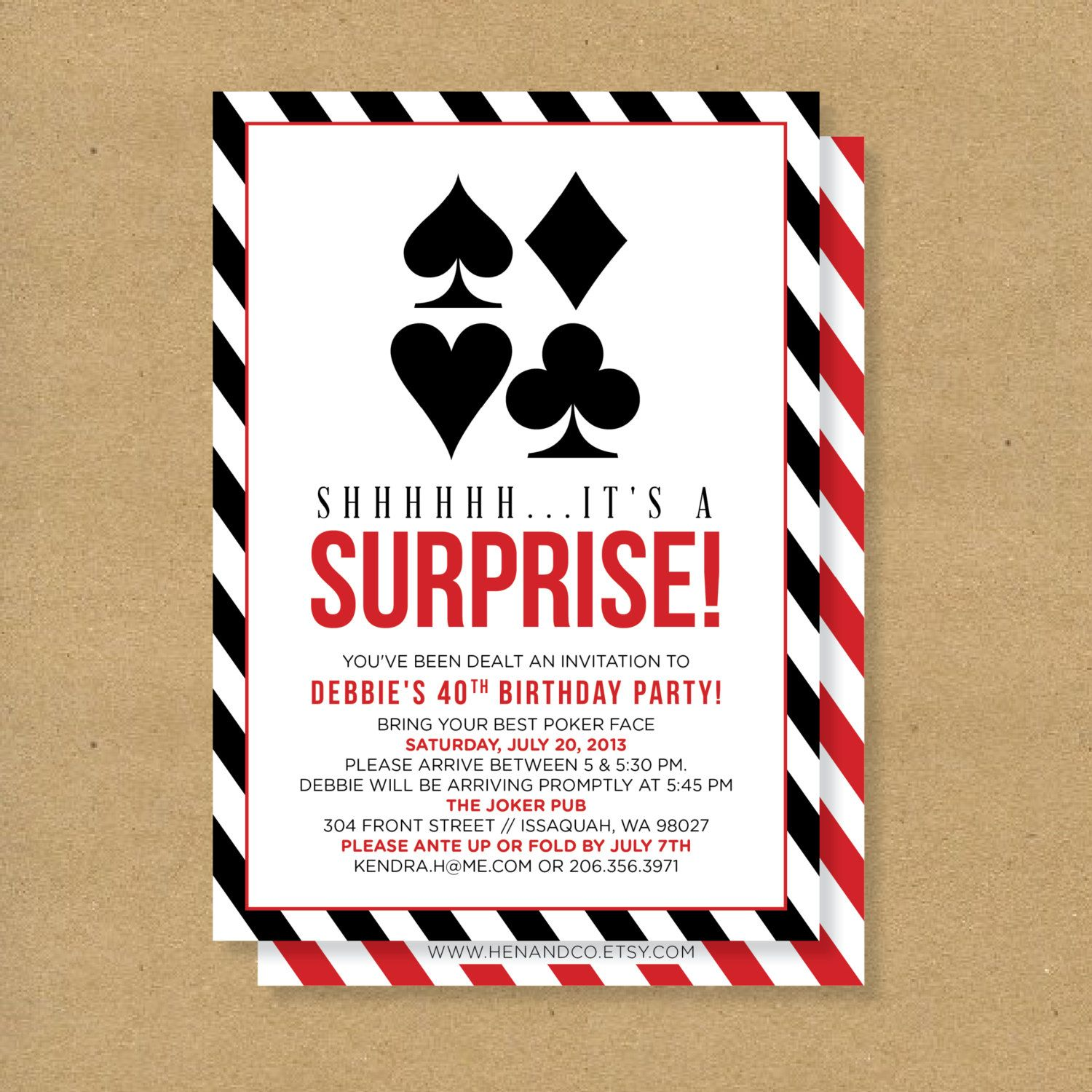 POKER theme SURPRISE PARTY Printable Birthday by HENANDCO on Etsy ...