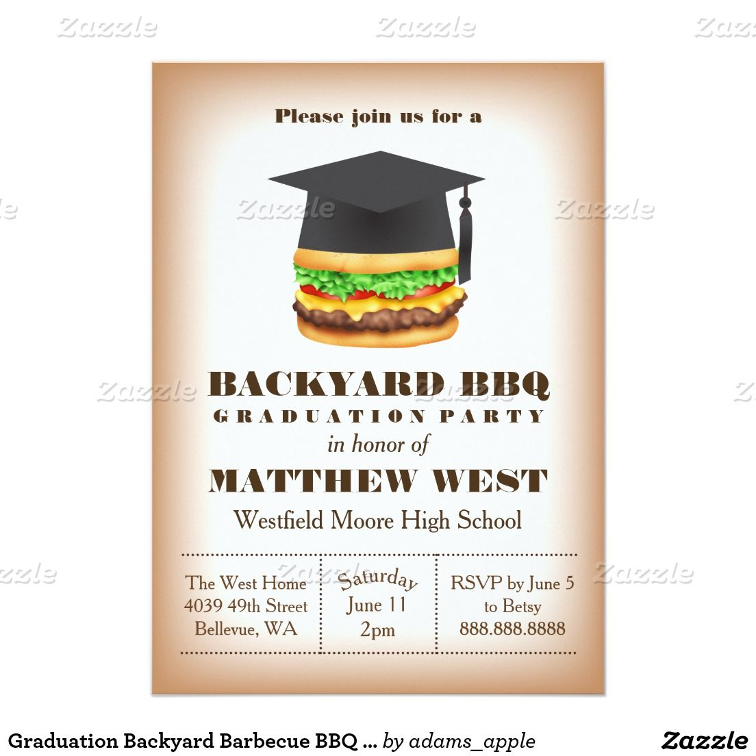 graduation backyard barbecue bbq party cookout invitation