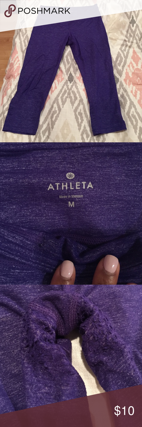 Athleta Purple Capris Pre-loved❤ Great workout pants 3rd pictures shows piling   ✅Make an offer 🚫no low balling 🚫no trades Athleta Pants Track Pants & Joggers