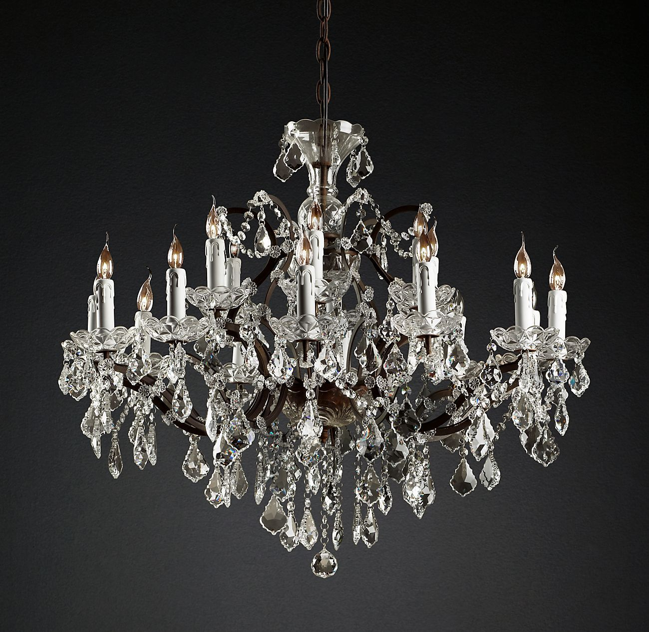 19th C Rococo Iron Crystal Round Chandelier 33 In 2020 With
