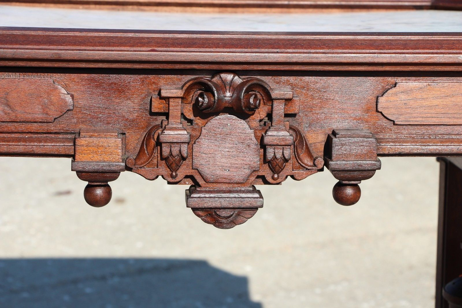 Ornate Walnut Victorian Neo Grec Picture Frame Marble Top Library Table  Desk | EBay Library Table