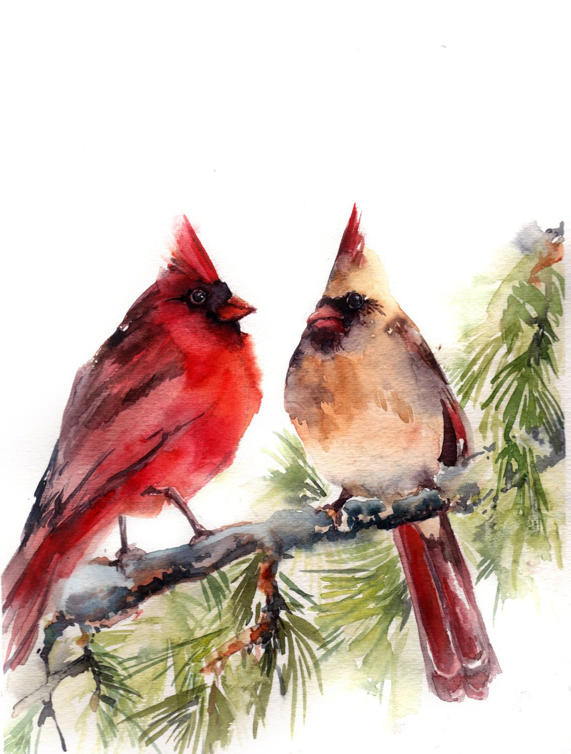 Original Painting Of Cardinal Birds Watercolor Painting Bird