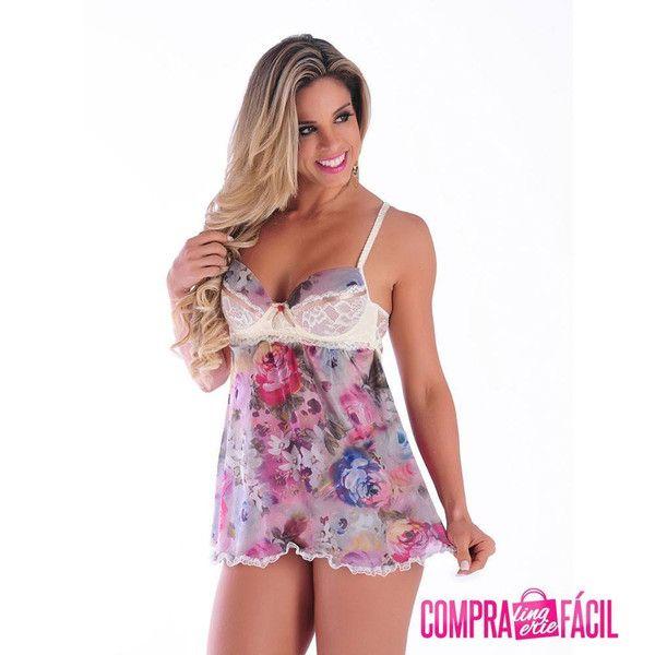 2fb7ae5cb Camisola Sexy de Renda e Tully - Shopping de Atacado - Trimoda Camisola  Sexy