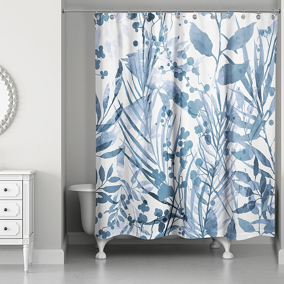 Designs Direct Watercolor Floral Shower Curtain In Blue Products