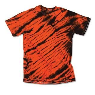 Dyenomite 200TS 100 Percent Cotton Tiger Stripe Tee for Youth Men, Black & Orange - Youth Small