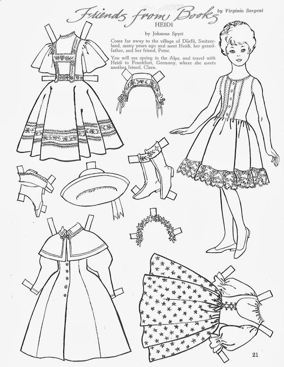 children s friend friends from books 1966 heidi paper dolls Mary Quant Clothing children s friend friends from books 1966 heidi